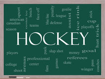 Hockey Word Cloud Concept on a Blackboard Royalty Free Stock Images