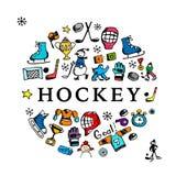 Hockeybanner, schets voor uw ontwerp Stock Afbeelding