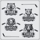 Hockeyemblem, etiketter och designbeståndsdelar Emblem för sportklubba med björnen, lejonet, tigern och leoparden Royaltyfria Foton