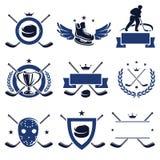 Hockeyetikett- och symbolsuppsättning. Vektor royaltyfri illustrationer