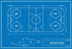 Hockeyfeld auf Plan Stockbilder