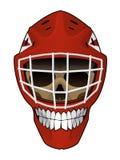 Hockeygoaliehjälm med den onda hjälmen för framsidainsideHockeygoalie med scullen inom Royaltyfri Illustrationer
