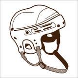 Hockeyhjälm som isoleras på vit. Arkivbilder