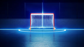 Hockeyijsbaan en doel Stock Foto