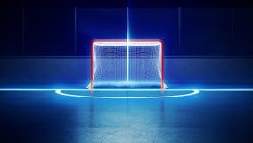 Hockeyisisbana och mål Arkivfoto