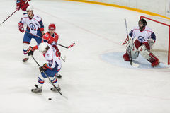 Hockeylek på bokslutceremoni av mästerskapet Fotografering för Bildbyråer