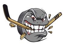 hockeymaskotpuck Royaltyfri Fotografi