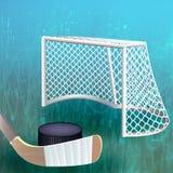 Hockeypuck dicht bij doel Stock Foto