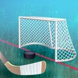 Hockeypuck die rode doellijn kruisen Stock Fotografie