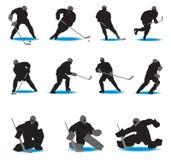 hockeysilhouettes Royaltyfri Foto