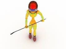 Hockeyspelare med en pinne #9 Royaltyfria Bilder