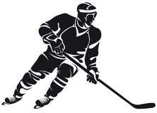 Hockeyspelare silhouette Arkivfoto