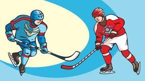 hockeyspelare två Arkivbild