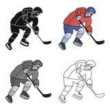 Hockeyspeler in volledig toestel met een stok speelhockey De winter Olympische sport De olympische sporten kiezen pictogram in be Royalty-vrije Stock Afbeelding