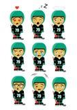 Hockeyspeler weinig jongen voor jonge geitjes emoticons royalty-vrije illustratie