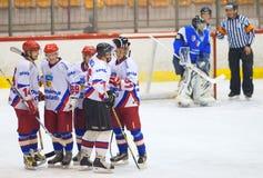 Hockeyspelers Stock Foto's