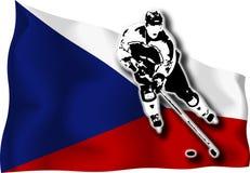 Hockeyspieler auf tschechischer Markierungsfahne Stockfoto