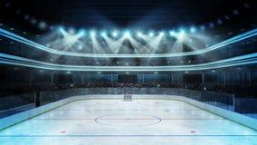 Hockeystadion med åskådare och en tom isisbana Arkivfoton