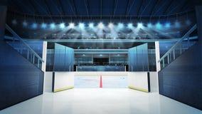 Hockeystadion med öppna dörrar som leder till is Royaltyfria Bilder