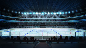 Hockeystadion mit Fans und einer leeren Eisbahn Stockbilder