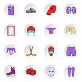 Hockeysymboler, tecknad filmstil stock illustrationer