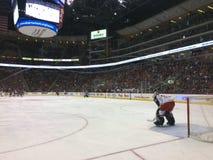 Hockeytormann während eines NHL-Spiels Stockbild