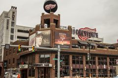 Hockeytown kafé i i stadens centrum Detroit Michigan arkivbild