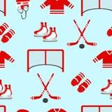 Hockeyvektorhintergrund Vector nahtloses Muster Männer ` s wiederholte Beschaffenheit des Eishockeys Wintersportdesigne, kleidet  lizenzfreie abbildung