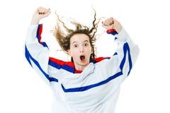 Hockeyventilator in Jersey in kleur van de toejuiching van Rusland, het vieren doel stock afbeelding