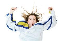 Hockeyventilator in Jersey in nationale kleur van de toejuiching van Zweden, het vieren doel stock afbeelding