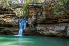 Hocking Hills State Park in Ohio beautiful waterfall. A tranquil scene at the lovely Hocking Hills State Park in Hocking Hills, Ohio. The waterfall was taken as stock photo