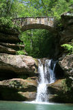 Hocking Hills Waterfall. Bridge and Waterfall in Hocking Hills State Park, Ohio Stock Image