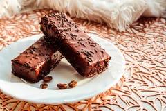 Hocolate behandelde wafels Ð ¡ op een witte plaat stock foto's