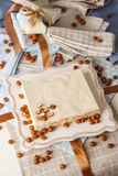 Сhocolate cake with mascarpone on packaging background. Royalty Free Stock Photo