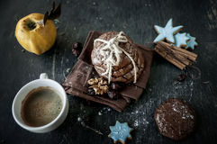 Сhocolate chip cookies and cup of coffee. Stock Photos