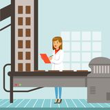 Hocolate factory production line, female controller holding clipboard and controlling the production process chocolate. Bars vector Illustration, web design vector illustration