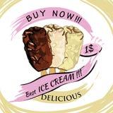 Hocolate lód z ceną Popsicle na białym tle royalty ilustracja
