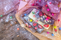 Hocolate mix with colorful candy and fruit Royalty Free Stock Image