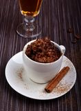 Сhocolate risotto italian dessert. Chocolate risotto in small white cup Stock Images