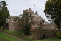 Hoddom castle. One of the local historian sites is that of kinmount where hoddom castle and repentance tower can be located in the south west of scotland Royalty Free Stock Photos