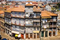 Colorful buildings on a curved street in Portos Portugal as viewed from above stock images