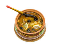 Hodgepodge soup in ceramic bowl isolated on white background Stock Images