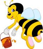 Hoding Honig der lustigen Bienenkarikatur Lizenzfreies Stockbild