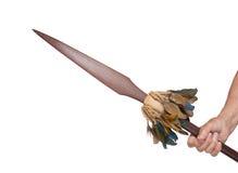 hodling一支老木矛的老手 库存图片