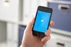 HODONIN TSJECHISCHE REPUBLIEK - 7 APRIL: Twitter is een online sociaal Ne stock fotografie