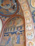 Hodos-Bodrog Monastery -Vault entrance door detail mural painting. Hodos-Bodrog Monastery - The Assumption of the Virgin Mary, historical monument - attested in Stock Images
