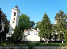 Hodos-Bodrog Monastery - view from the courtyard of the monastery. Hodos-Bodrog Monastery - The Assumption of the Virgin Mary, historical monument - attested in stock photography