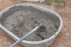 Hoe in Cement mixing in truck for buildings construction. Stock Photography