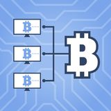 Hoe illustratie van de het netwerk de vlakke regeling van het werkcryptocurrency Computers met Bitcoin Royalty-vrije Stock Fotografie