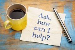 , Hoe kan vraag ik helpen? Stock Afbeelding